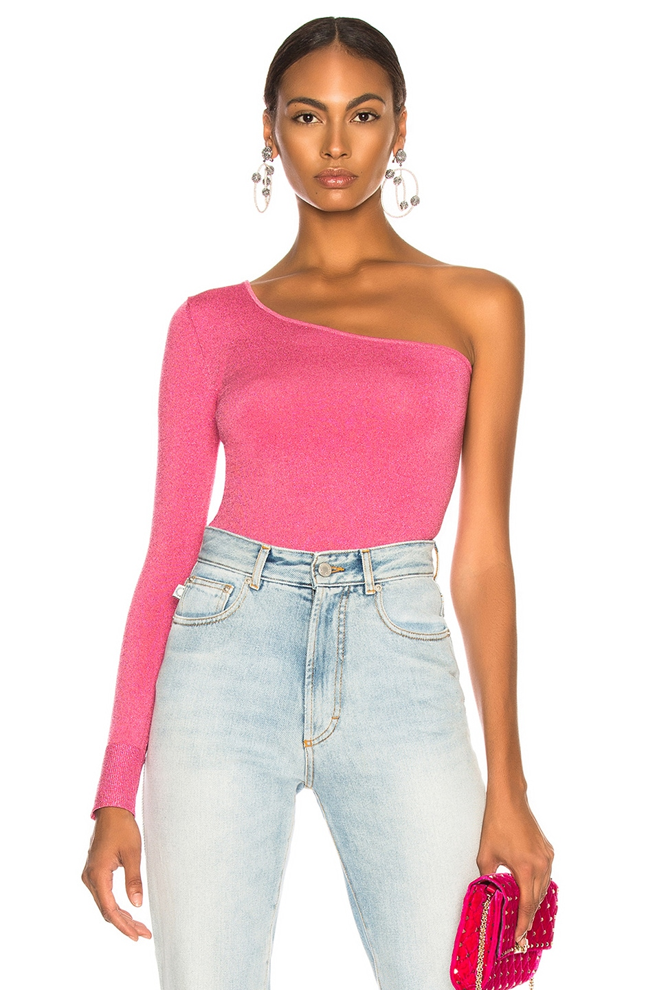 Image 1 of JoosTricot Bodycon Asymmetric Long Sleeve Sweater in Pink Lurex