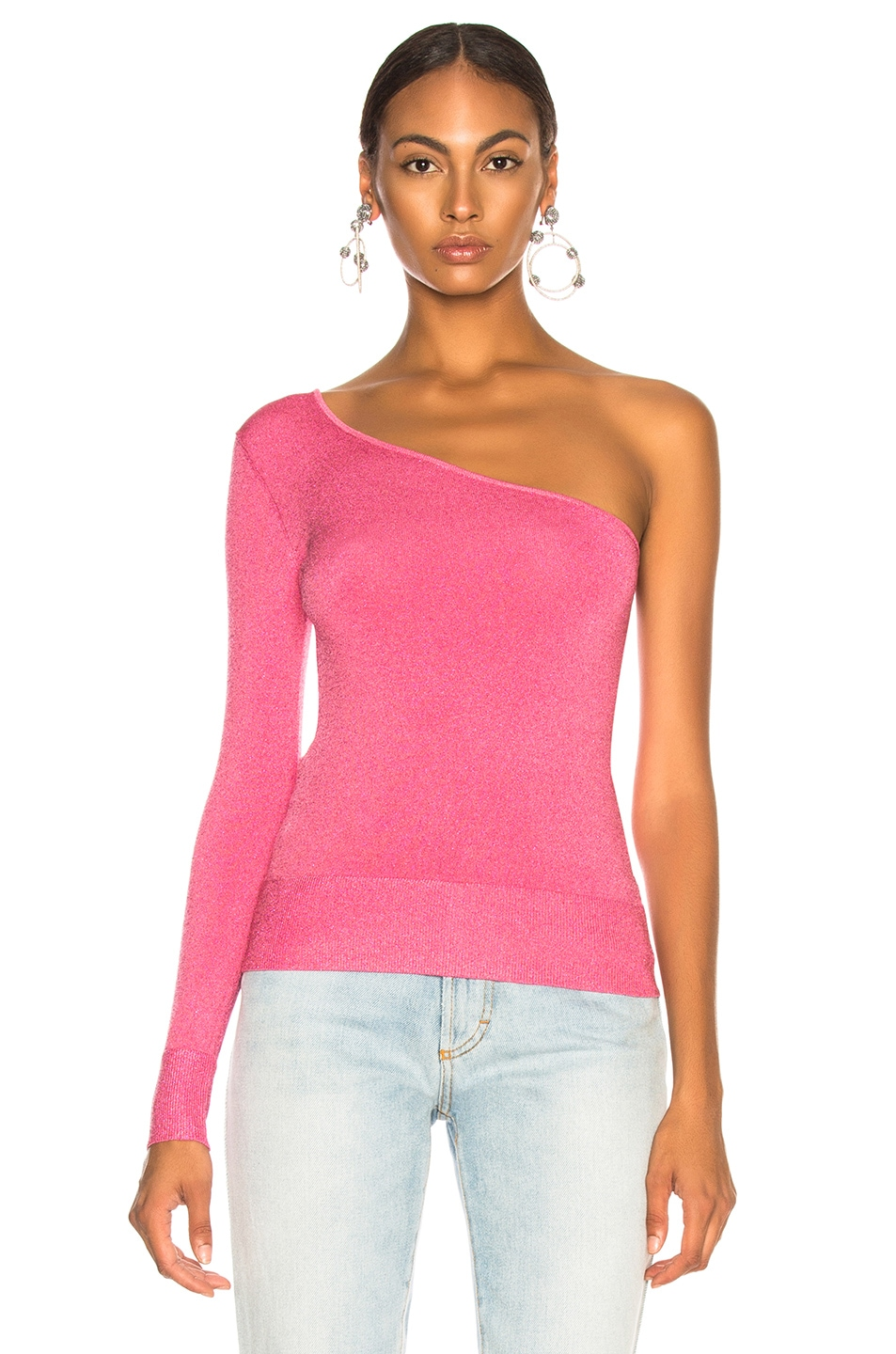 Image 2 of JoosTricot Bodycon Asymmetric Long Sleeve Sweater in Pink Lurex
