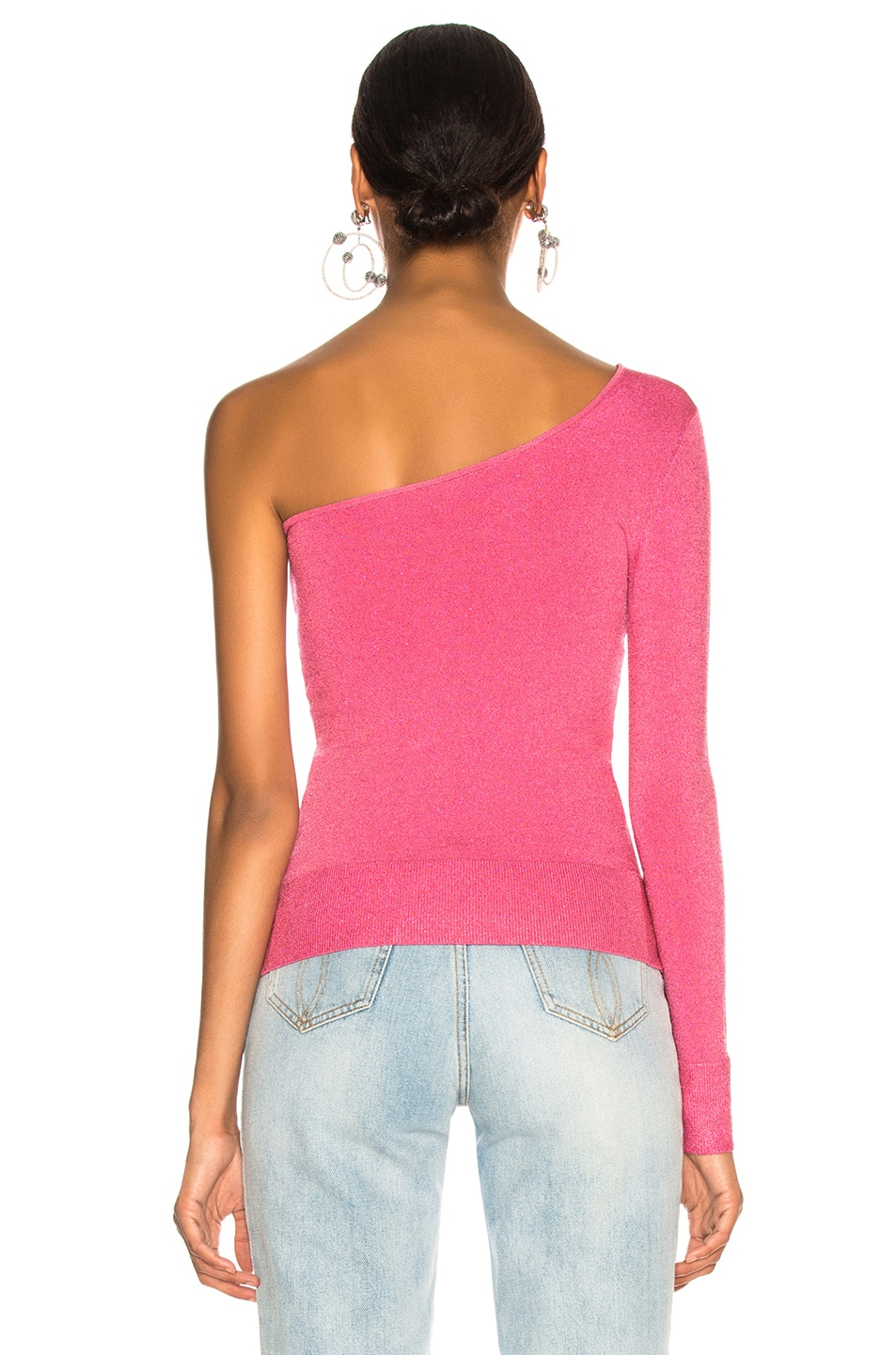 Image 4 of JoosTricot Bodycon Asymmetric Long Sleeve Sweater in Pink Lurex