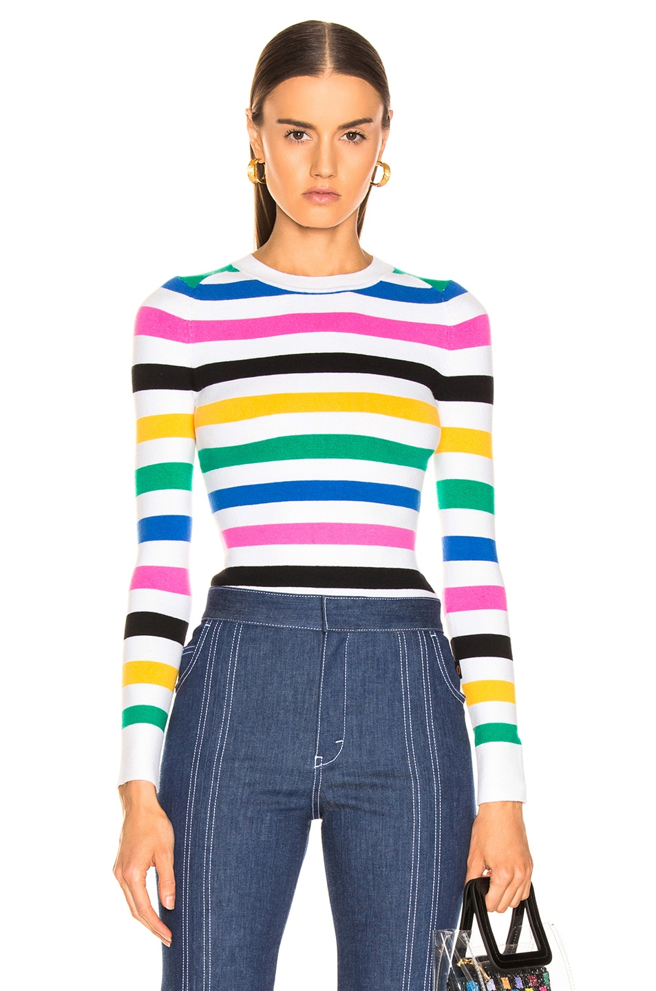 Image 1 of JoosTricot Crew Neck Sweater in White Stripes