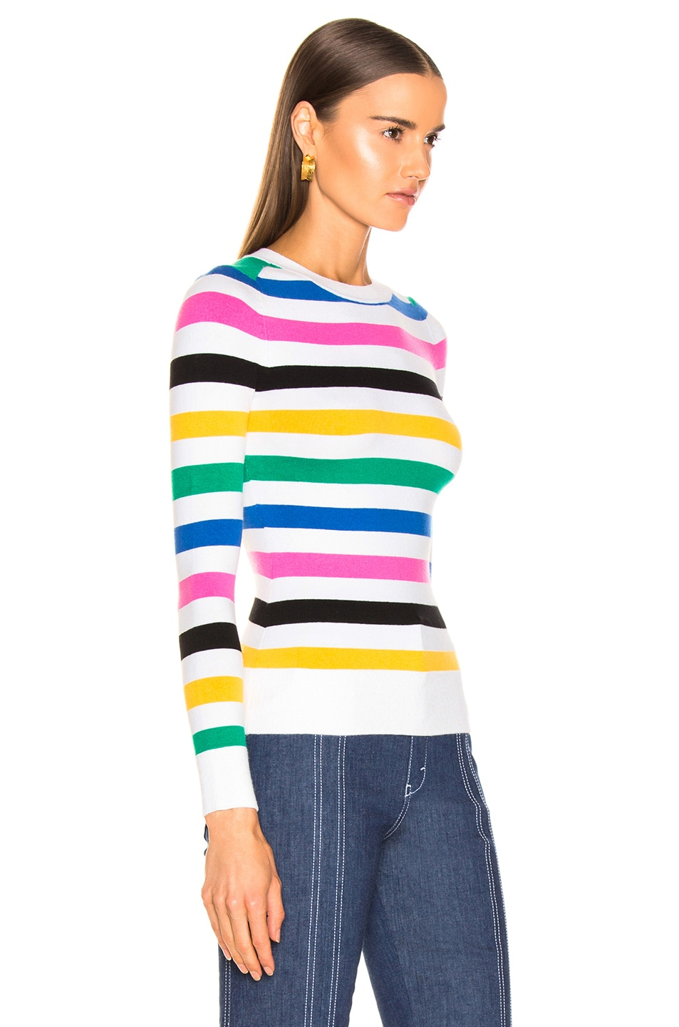 Image 2 of JoosTricot Crew Neck Sweater in White Stripes