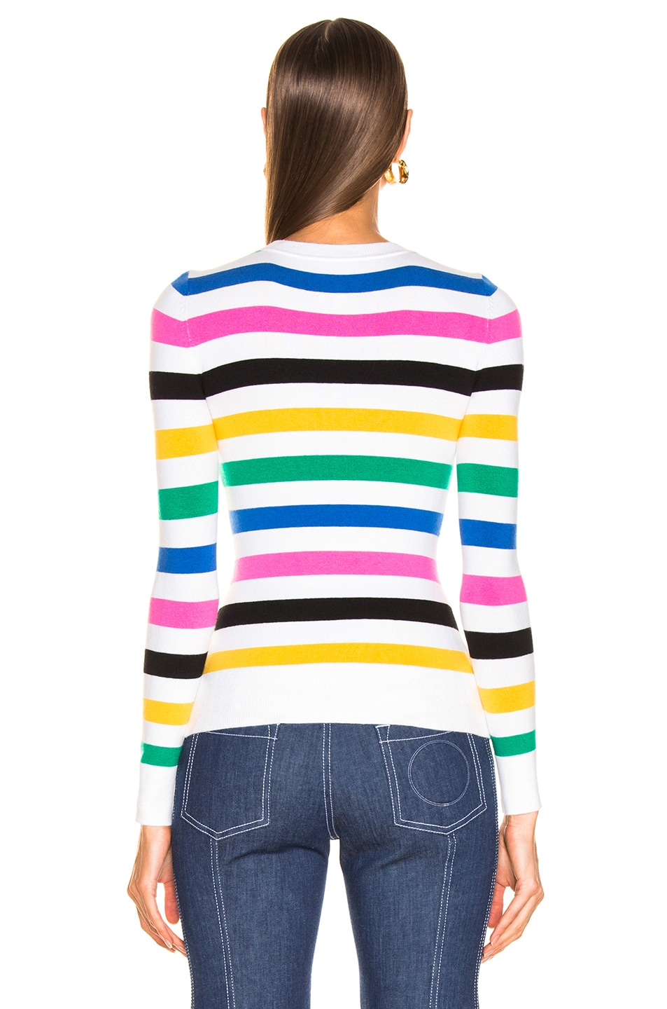Image 3 of JoosTricot Crew Neck Sweater in White Stripes