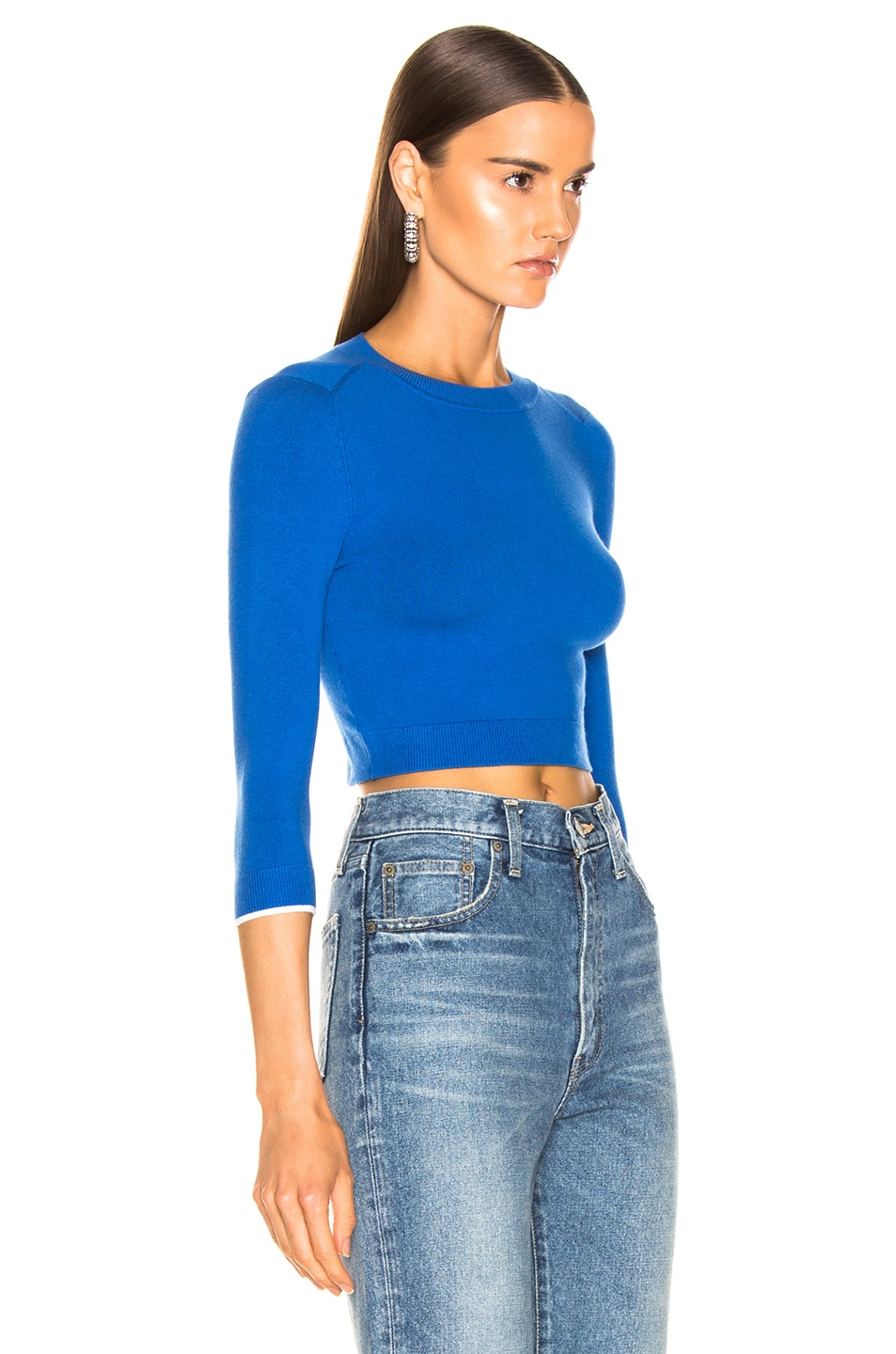 Image 2 of JoosTricot Cropped Sweater in Cosmos & White