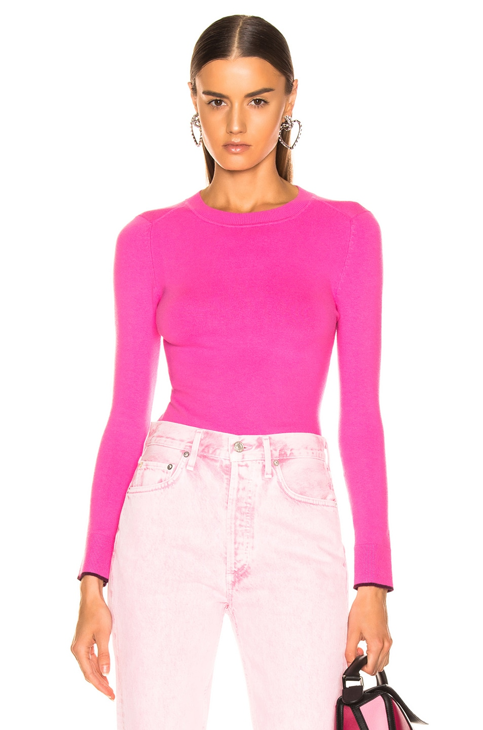 Image 1 of JoosTricot Crew Neck Sweater in Dragon Fruit & Pinot