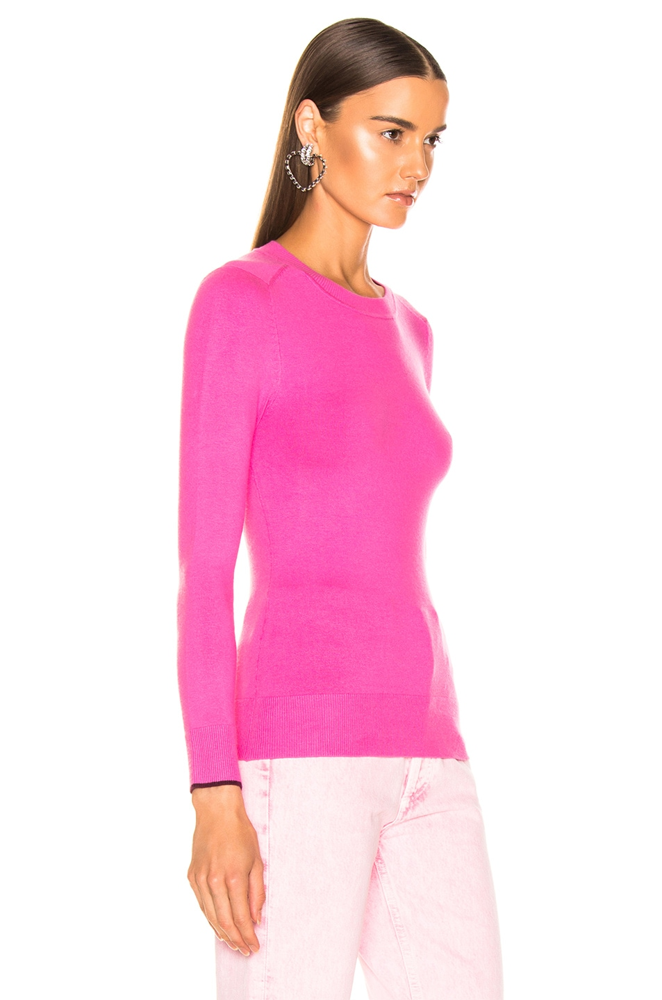 Image 2 of JoosTricot Crew Neck Sweater in Dragon Fruit & Pinot