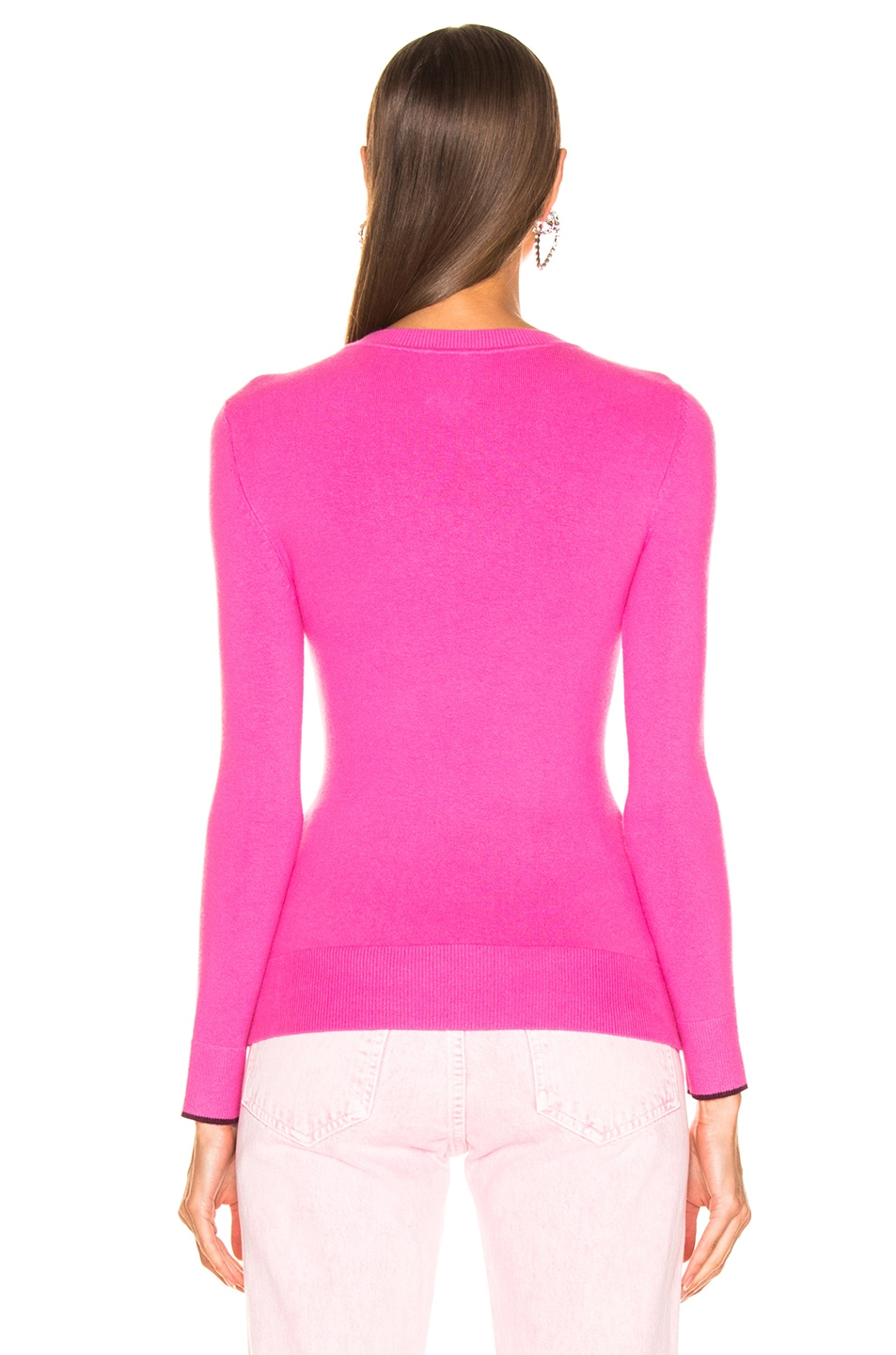 Image 3 of JoosTricot Crew Neck Sweater in Dragon Fruit & Pinot