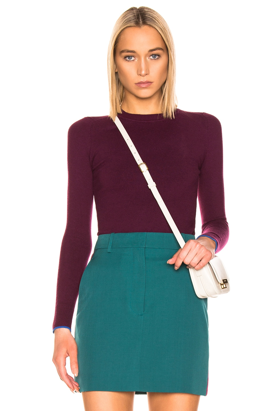 Image 1 of JoosTricot Crew Neck Sweater in Pinot & Cosmos