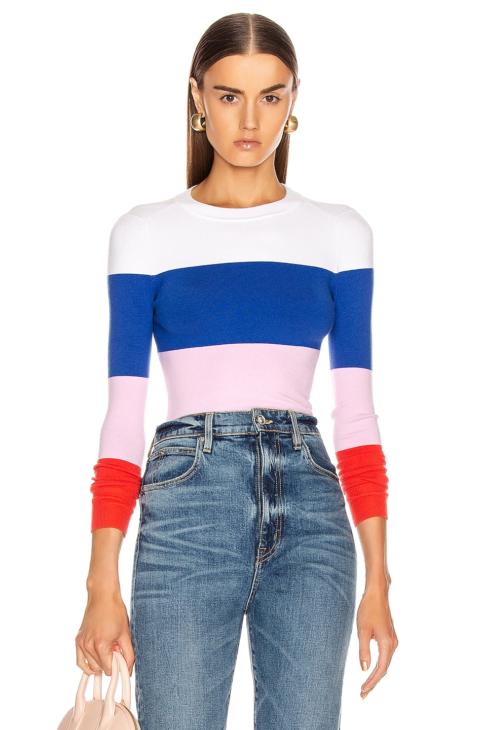 Image 1 of JoosTricot Long Sleeve Crew Neck Sweater in Laser White, Ultramarine, Wild Rose & Fire Poppy
