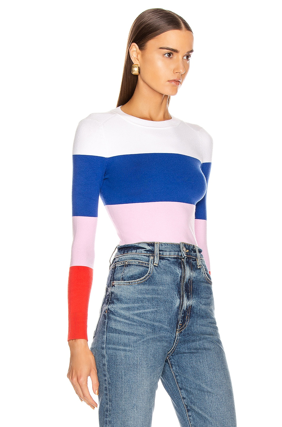 Image 2 of JoosTricot Long Sleeve Crew Neck Sweater in Laser White, Ultramarine, Wild Rose & Fire Poppy