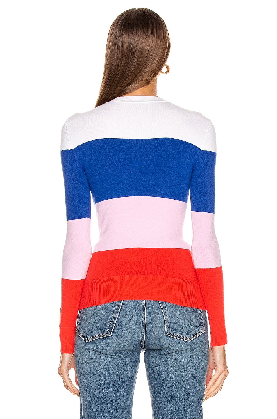 Image 3 of JoosTricot Long Sleeve Crew Neck Sweater in Laser White, Ultramarine, Wild Rose & Fire Poppy
