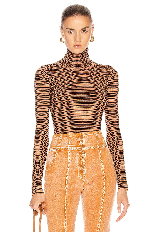 Image 1 of JoosTricot Long Sleeve Turtleneck Sweater in Cinnamon & Coal
