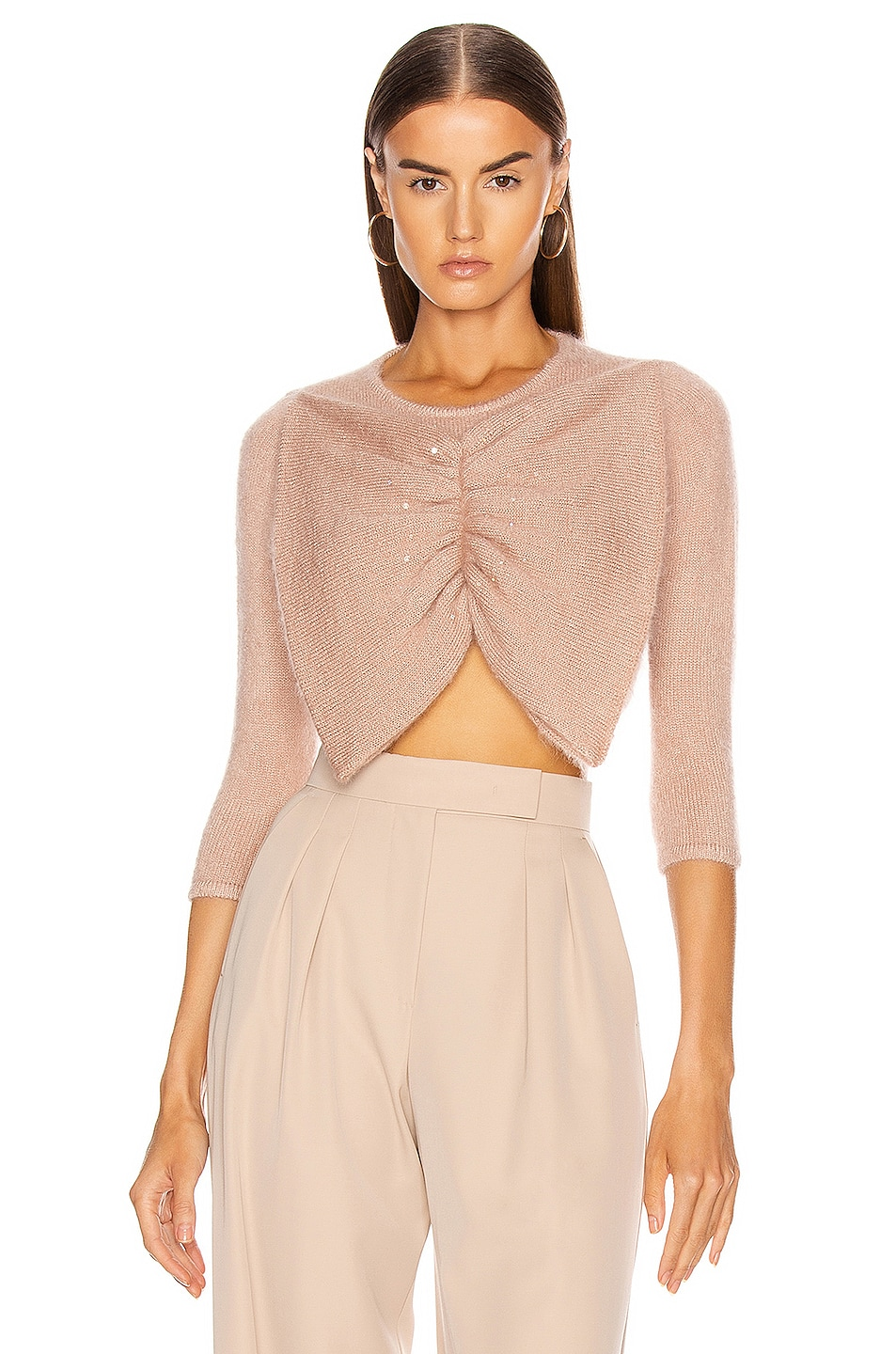 Image 1 of JoosTricot Swarovski Bow Crop Sweater in Dewy Pink