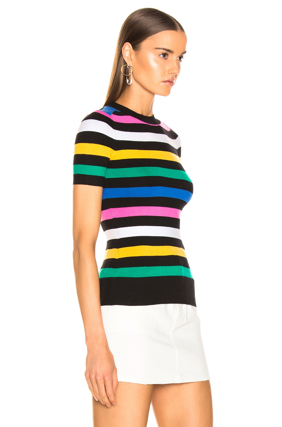 Image 2 of JoosTricot Crew Neck Tee in Black Stripes