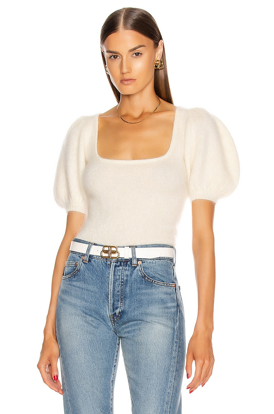 Image 1 of JoosTricot Swarovski Poofy Sleeve Top in White