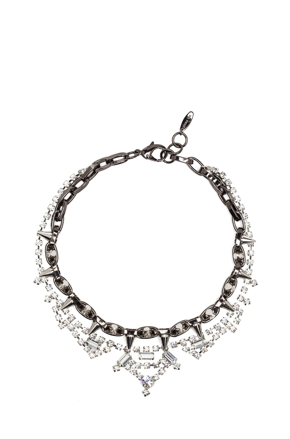 Image 1 of JOOMI LIM Crystal and Spike Necklace in Hematite & Silver