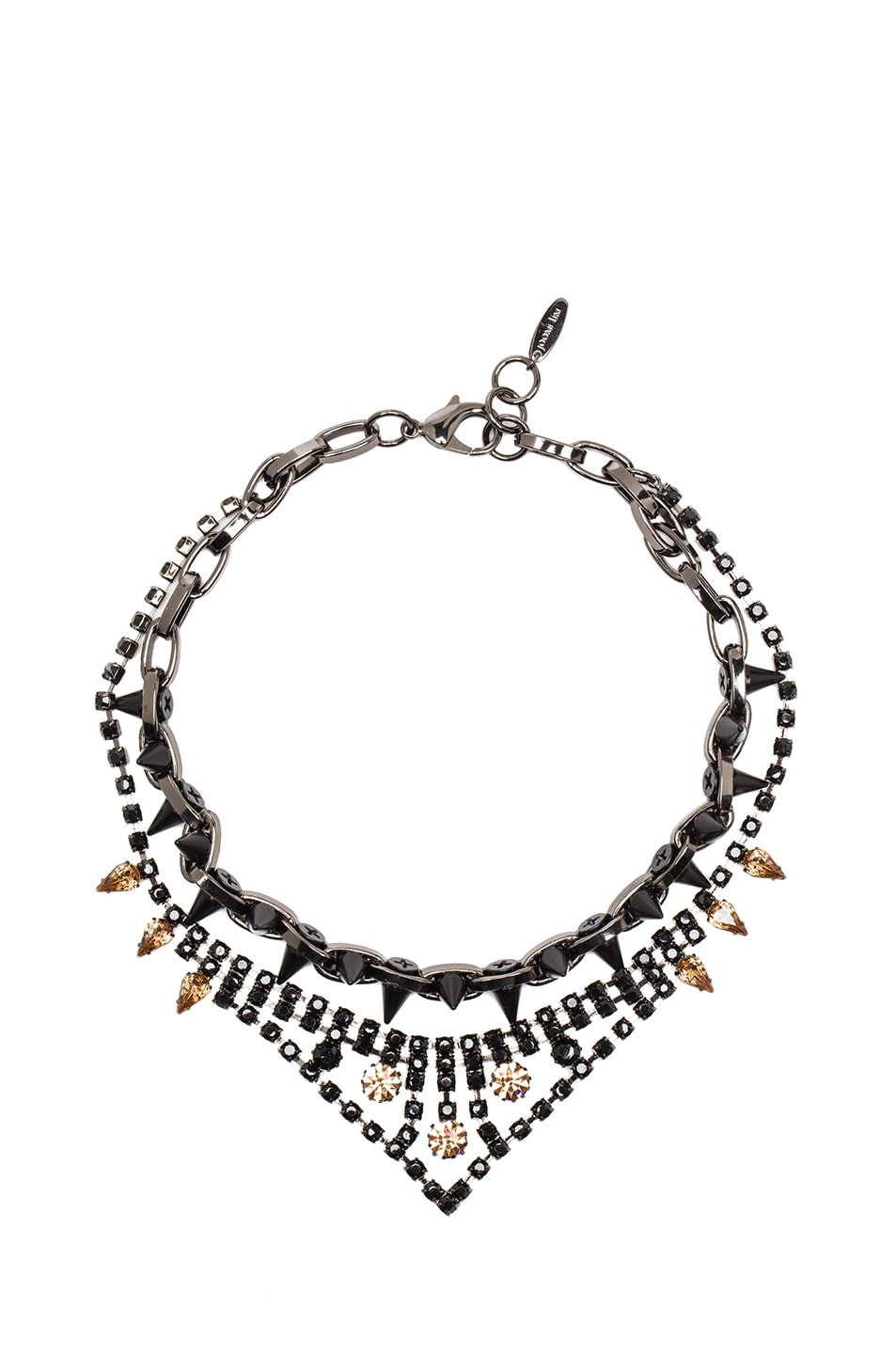 Image 1 of JOOMI LIM Velvet Underground Necklace & Jet Crystals in Hematite & Matte Black
