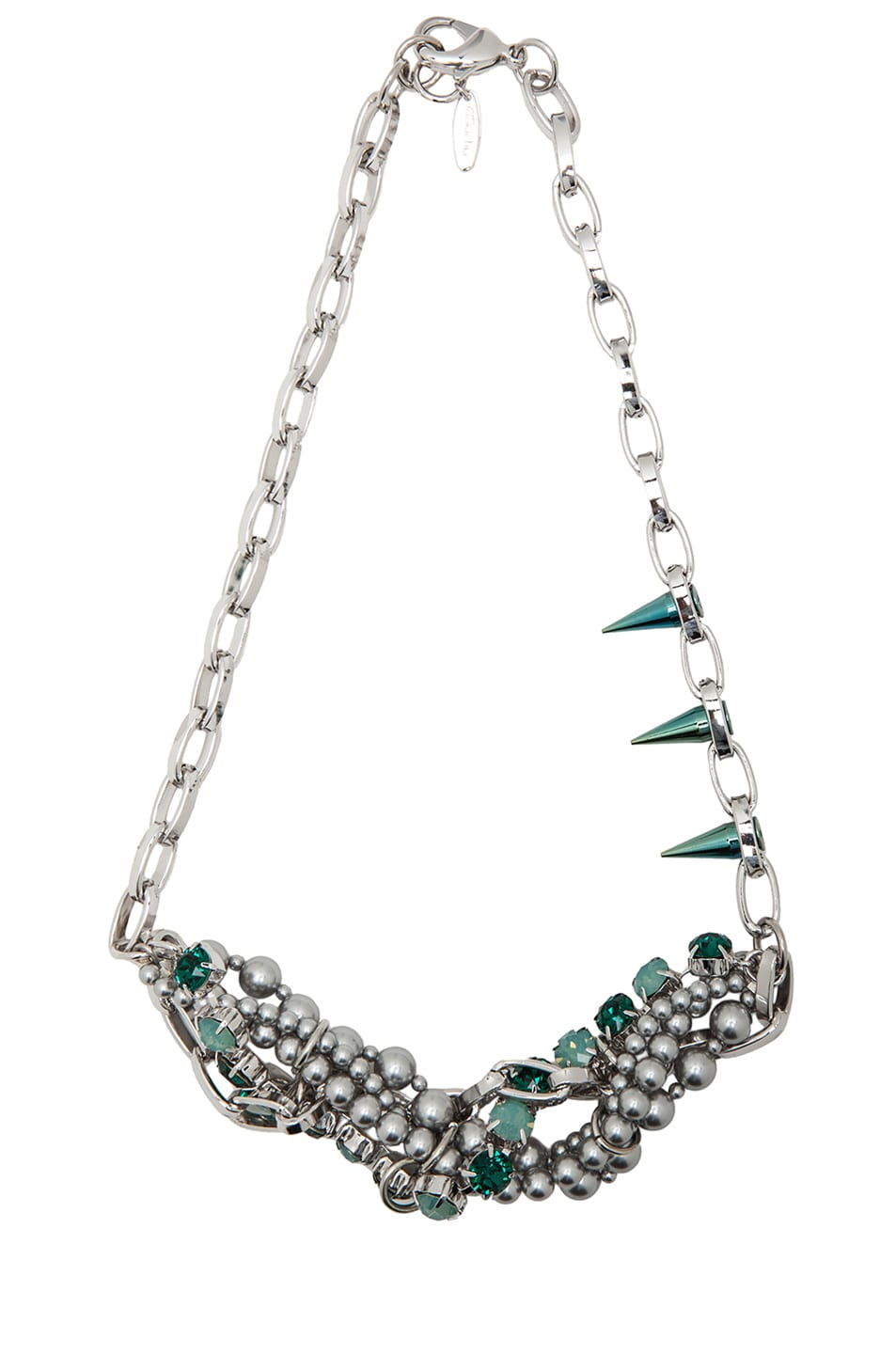Image 1 of JOOMI LIM Crystal & Pearl Necklace in Green & Grey