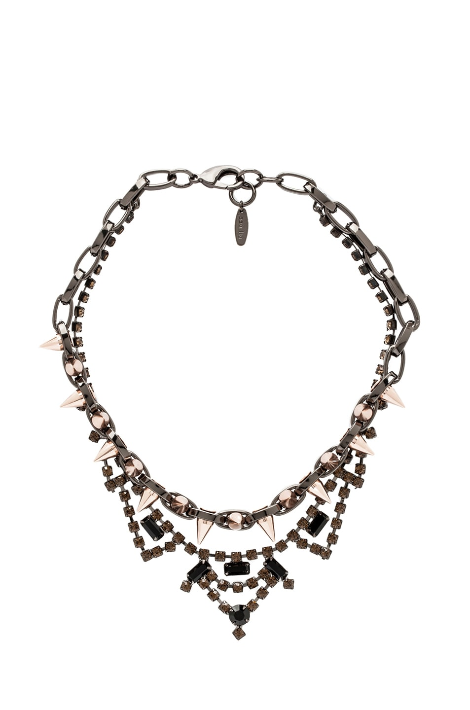Image 1 of JOOMI LIM Crystal and Spike Necklace in Hematite & Rose Gold
