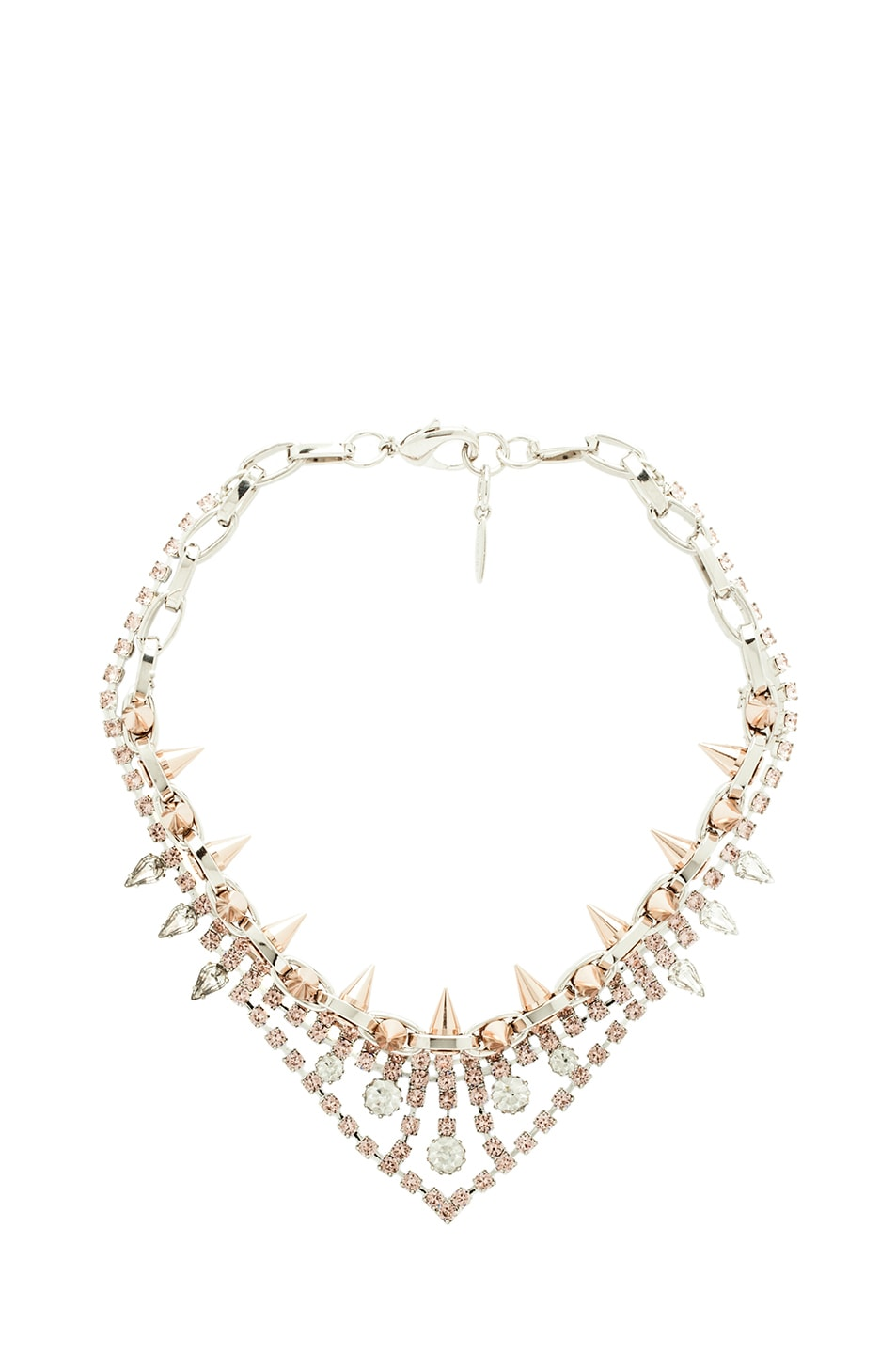 Image 1 of JOOMI LIM Crystal and Spike Necklace in Rhodium & Rose Gold