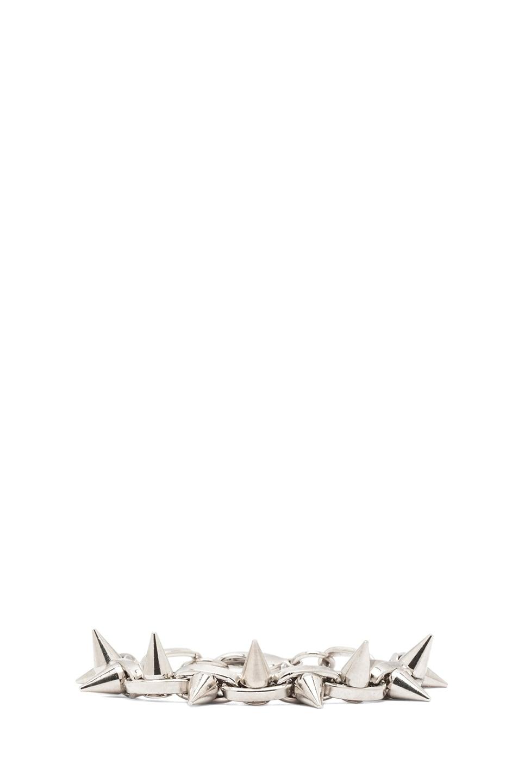 Image 1 of JOOMI LIM Double Row Spike Bracelet in Rhodium & Silver