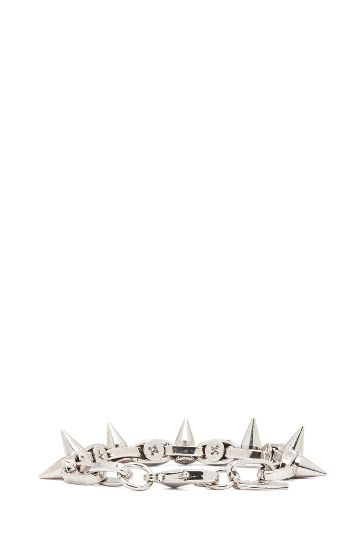 Image 3 of JOOMI LIM Double Row Spike Bracelet in Rhodium & Silver