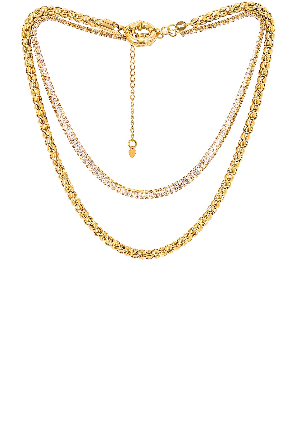 Image 1 of Jordan Road Jewelry for FWRD St. Tropez Necklace Stack in Gold & Crystal