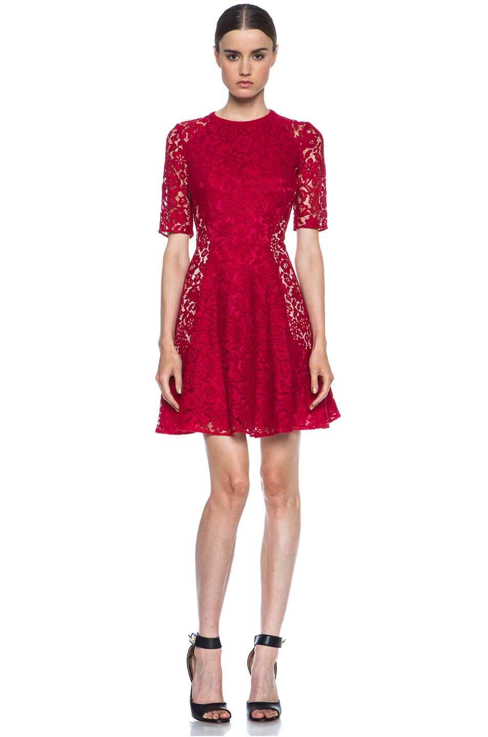 Image 1 of Joseph Agnes Lace Dress in Red & Nude
