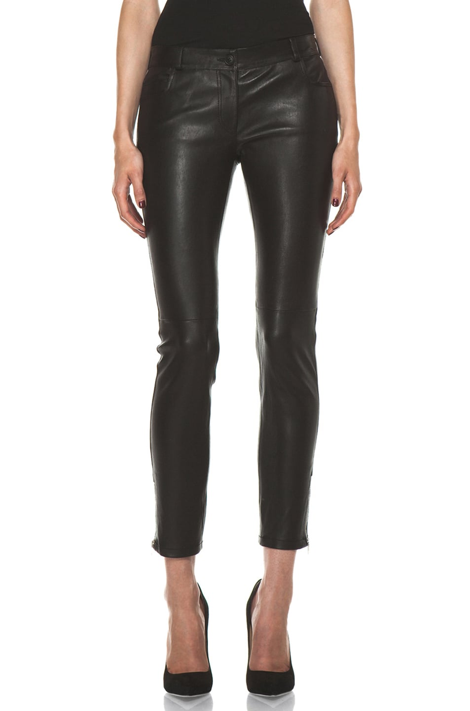 Image 1 of Joseph Evie Leather Pant in Black