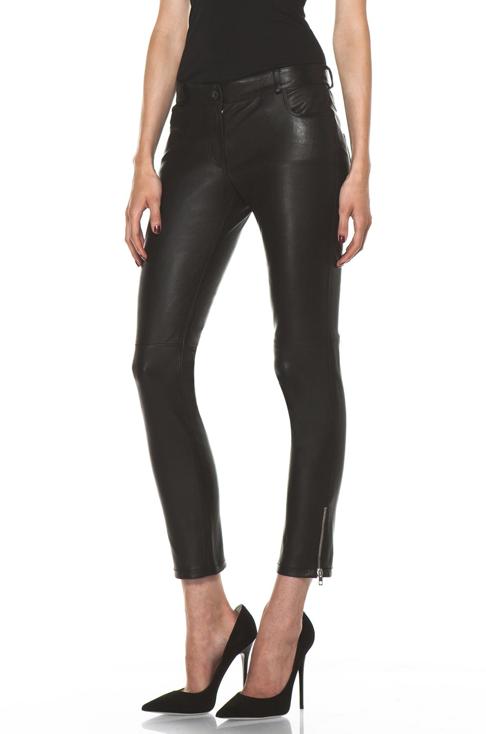 Image 2 of Joseph Evie Leather Pant in Black