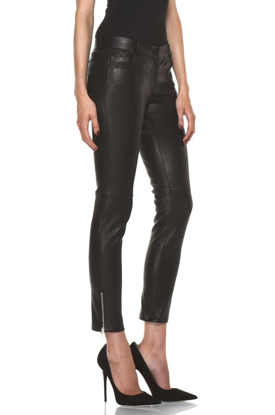 Image 3 of Joseph Evie Leather Pant in Black