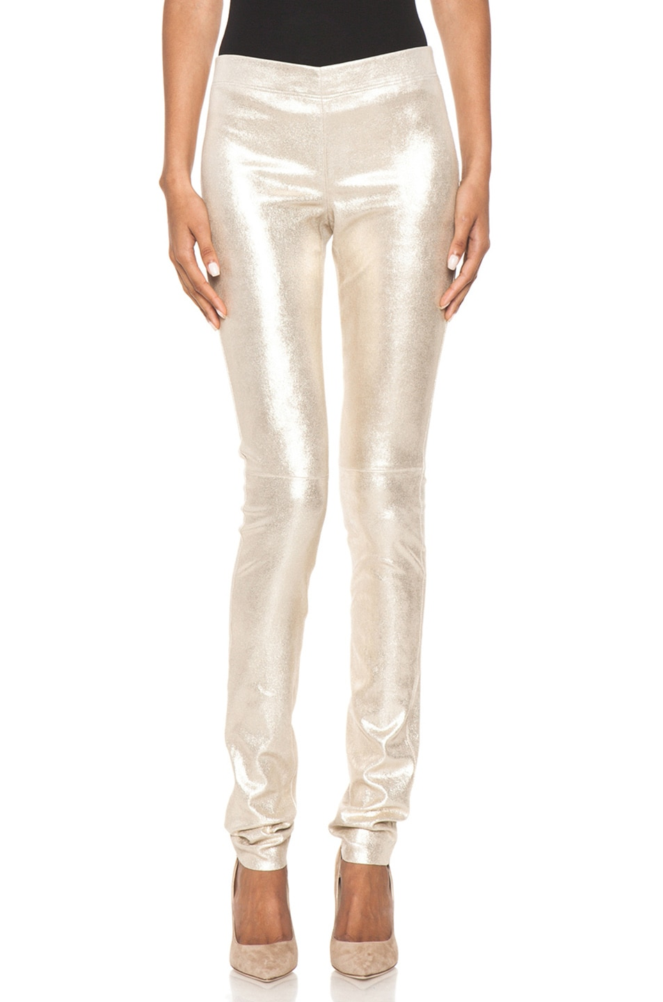 Image 1 of Joseph Stretch Leather Legging in Gold