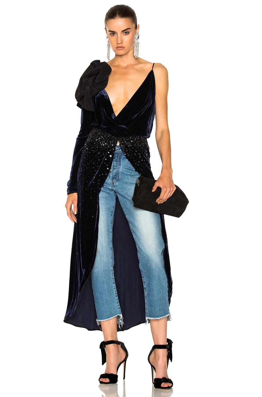 Image 1 of Johanna Ortiz Carmelilla Silk Rayon Velvet Embellished Dress in Navy & Black
