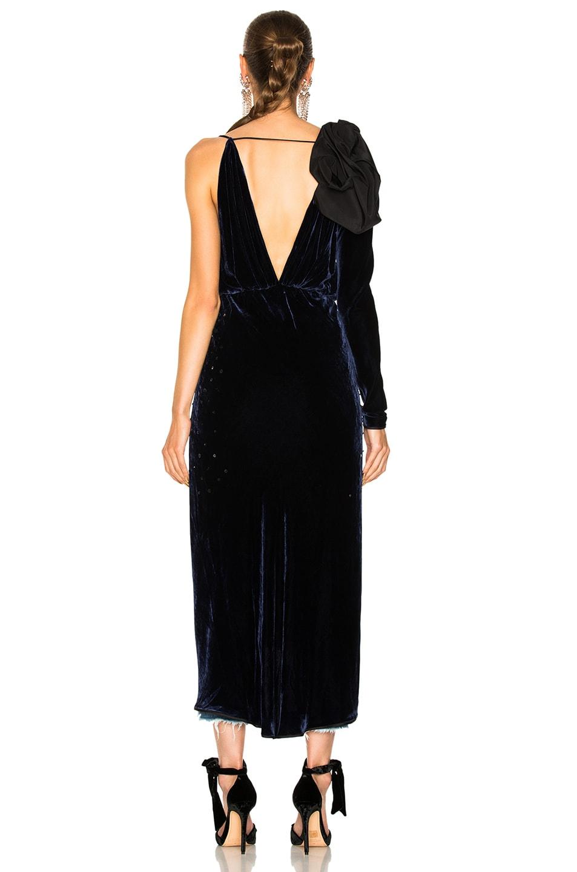 Image 4 of Johanna Ortiz Carmelilla Silk Rayon Velvet Embellished Dress in Navy & Black