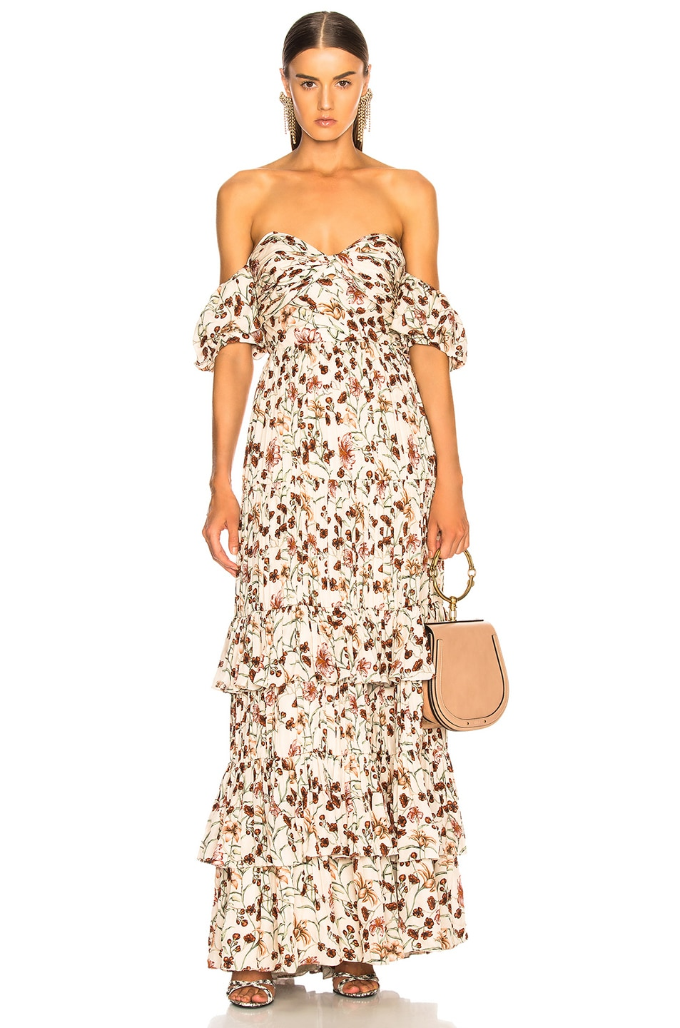 The Lady Of Shalott Off-The-Shoulder Floral-Print Crepe De Chine Gown, Floral,White