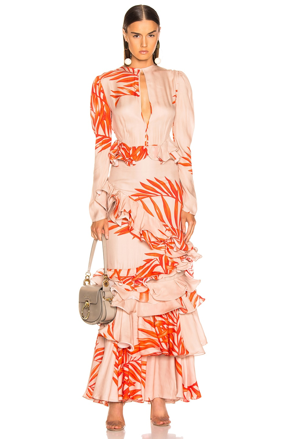 Image 1 of Johanna Ortiz California Dreaming Dress in Camel & Tangerine