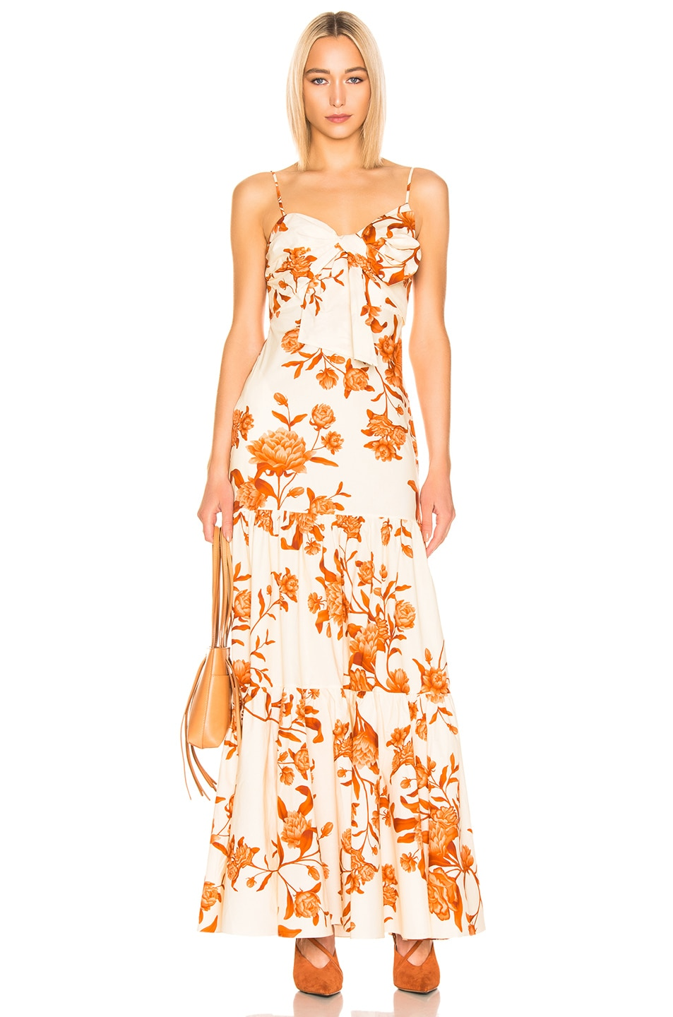 Image 1 of Johanna Ortiz Corazon Pacifico Dress in White & Nectarine