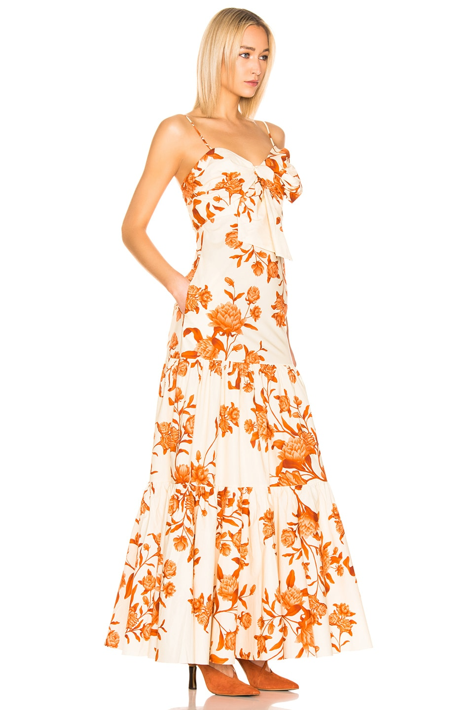 Image 2 of Johanna Ortiz Corazon Pacifico Dress in White & Nectarine