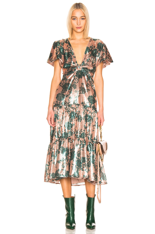 Image 1 of Johanna Ortiz Modern Day Muse Dress in Chestnut & Garden Jade Sequin