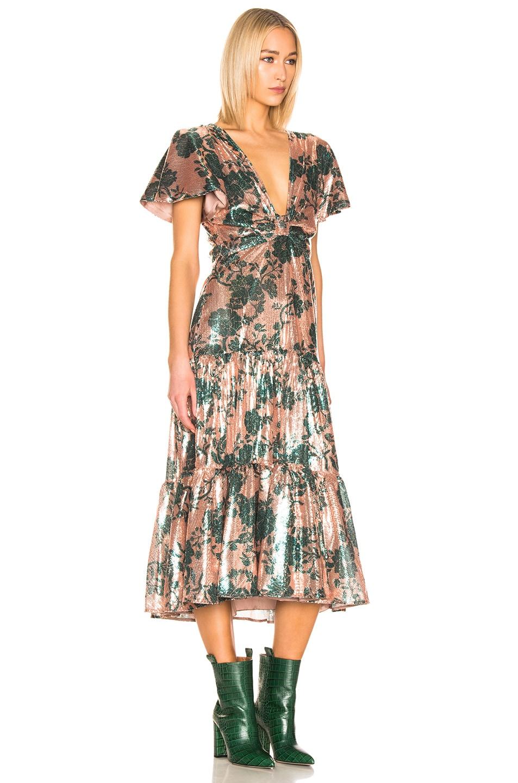Image 2 of Johanna Ortiz Modern Day Muse Dress in Chestnut & Garden Jade Sequin