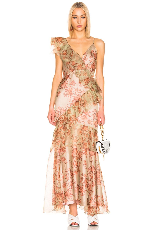 Image 1 of Johanna Ortiz Belle of the Ball Dress in Garden Jade & Cooper Tan