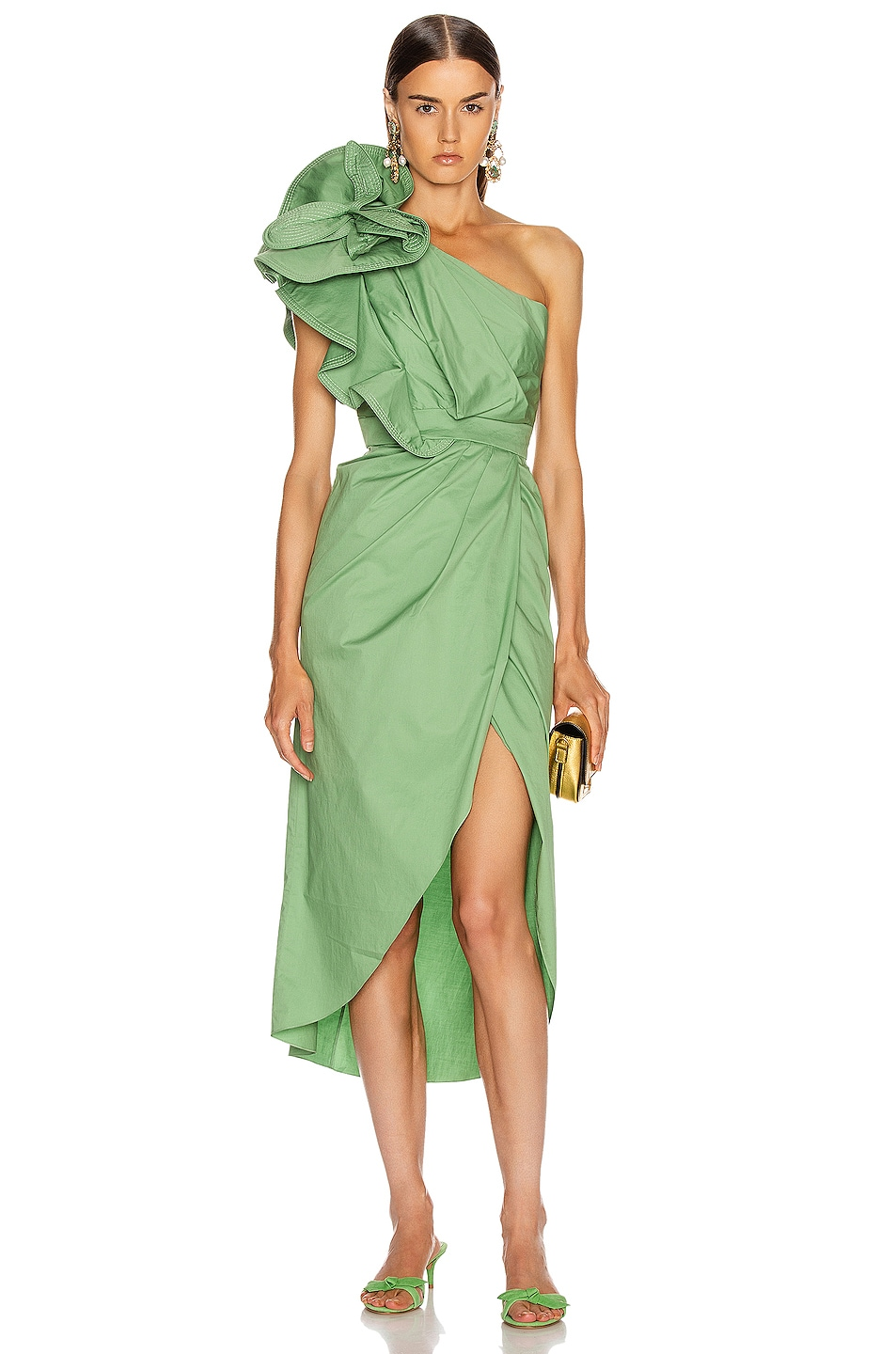 Image 1 of Johanna Ortiz Persian Opulence Flower Midi Dress in Pistachio