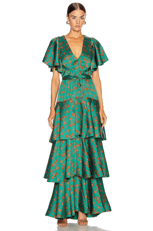 Image 1 of Johanna Ortiz Murmulllo Del Viento Maxi Dress in Aqua & Truffle