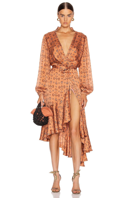 Image 1 of Johanna Ortiz Spiritual Relations Wrap Dress in Anis & Truffle