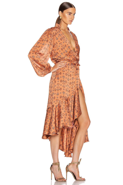 Image 2 of Johanna Ortiz Spiritual Relations Wrap Dress in Anis & Truffle