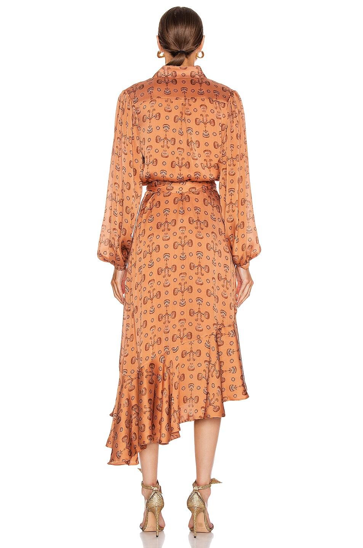Image 4 of Johanna Ortiz Spiritual Relations Wrap Dress in Anis & Truffle