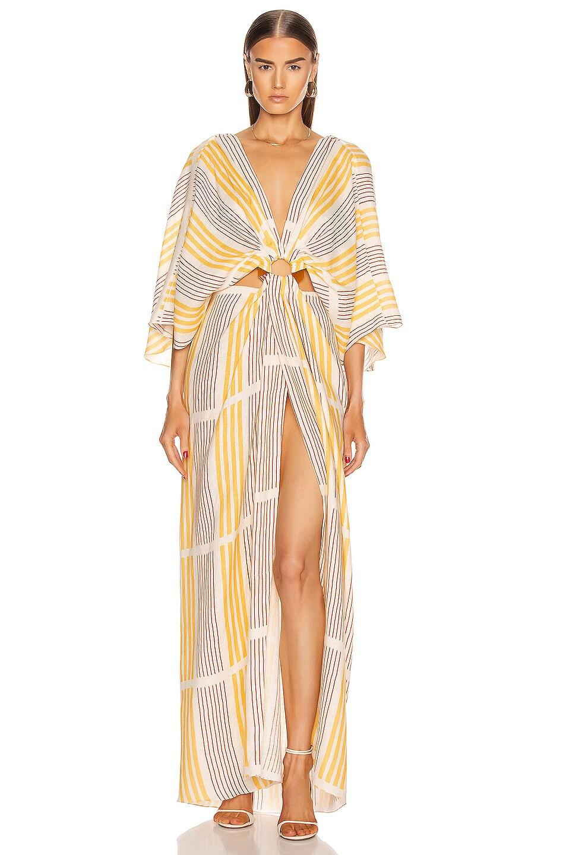 Image 1 of Johanna Ortiz Paradise Midi Dress in Ecru & Fresh Lemonade