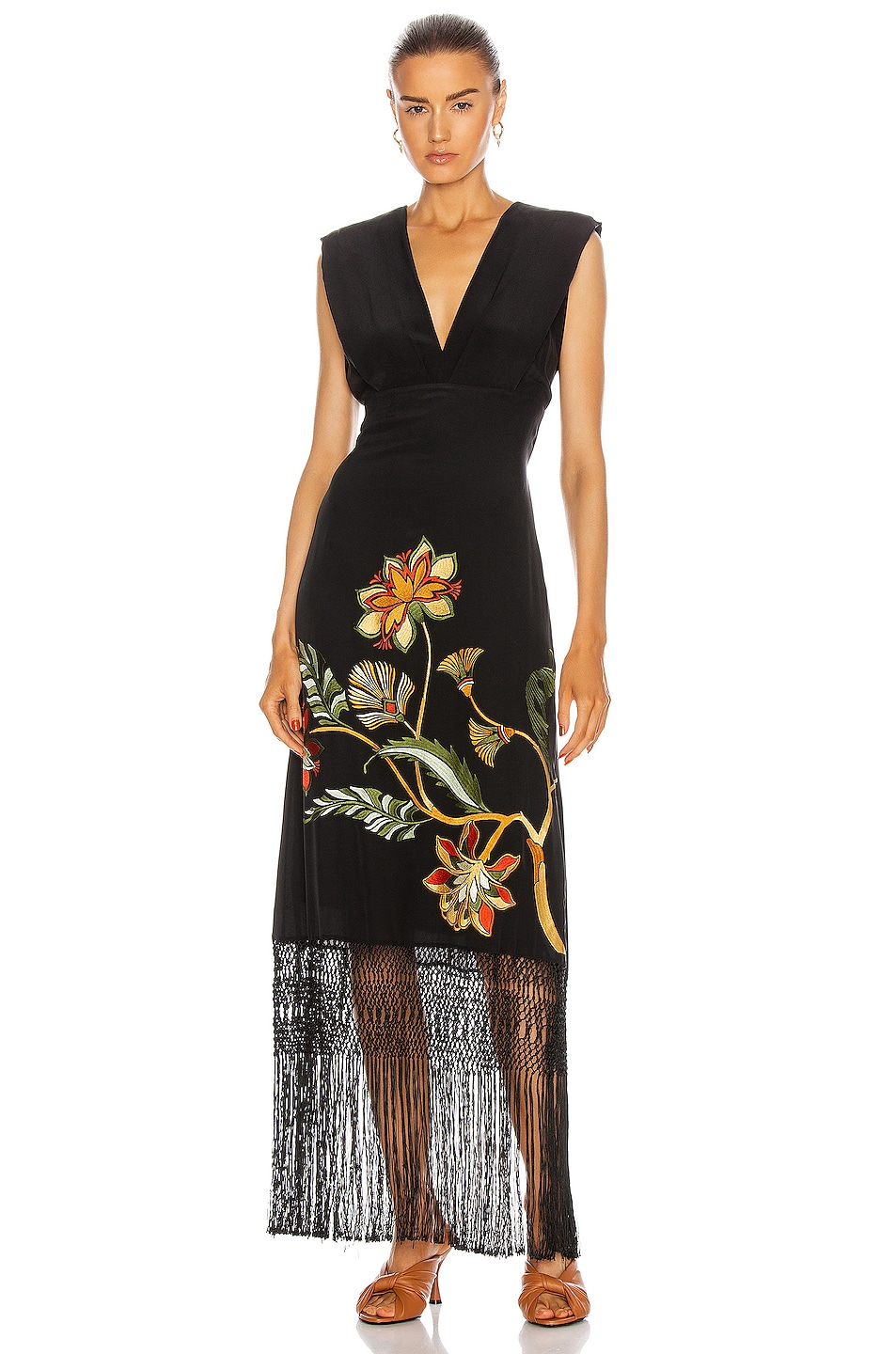 Image 1 of Johanna Ortiz Warrior Goddess Maxi Dress in Black