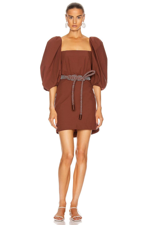 Image 1 of Johanna Ortiz Linear Rhythm Mini Belted Dress in Deep Terracotta