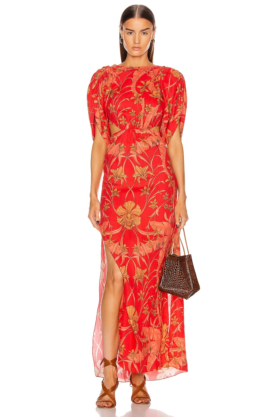 Image 1 of Johanna Ortiz Botanical Study Maxi Dress in Imperial Red & Camel