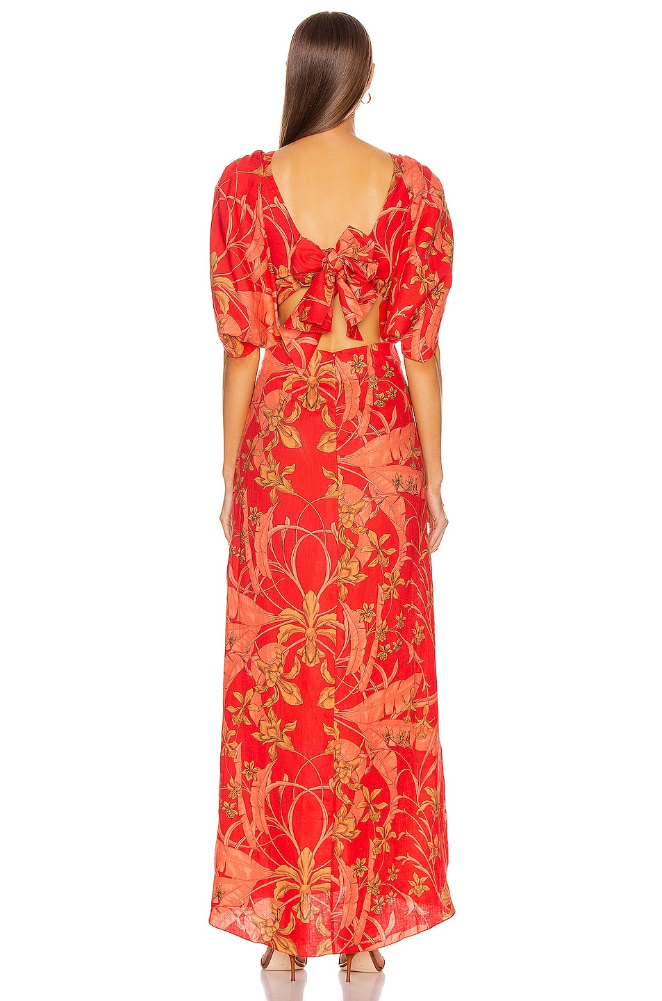 Image 3 of Johanna Ortiz Botanical Study Maxi Dress in Imperial Red & Camel